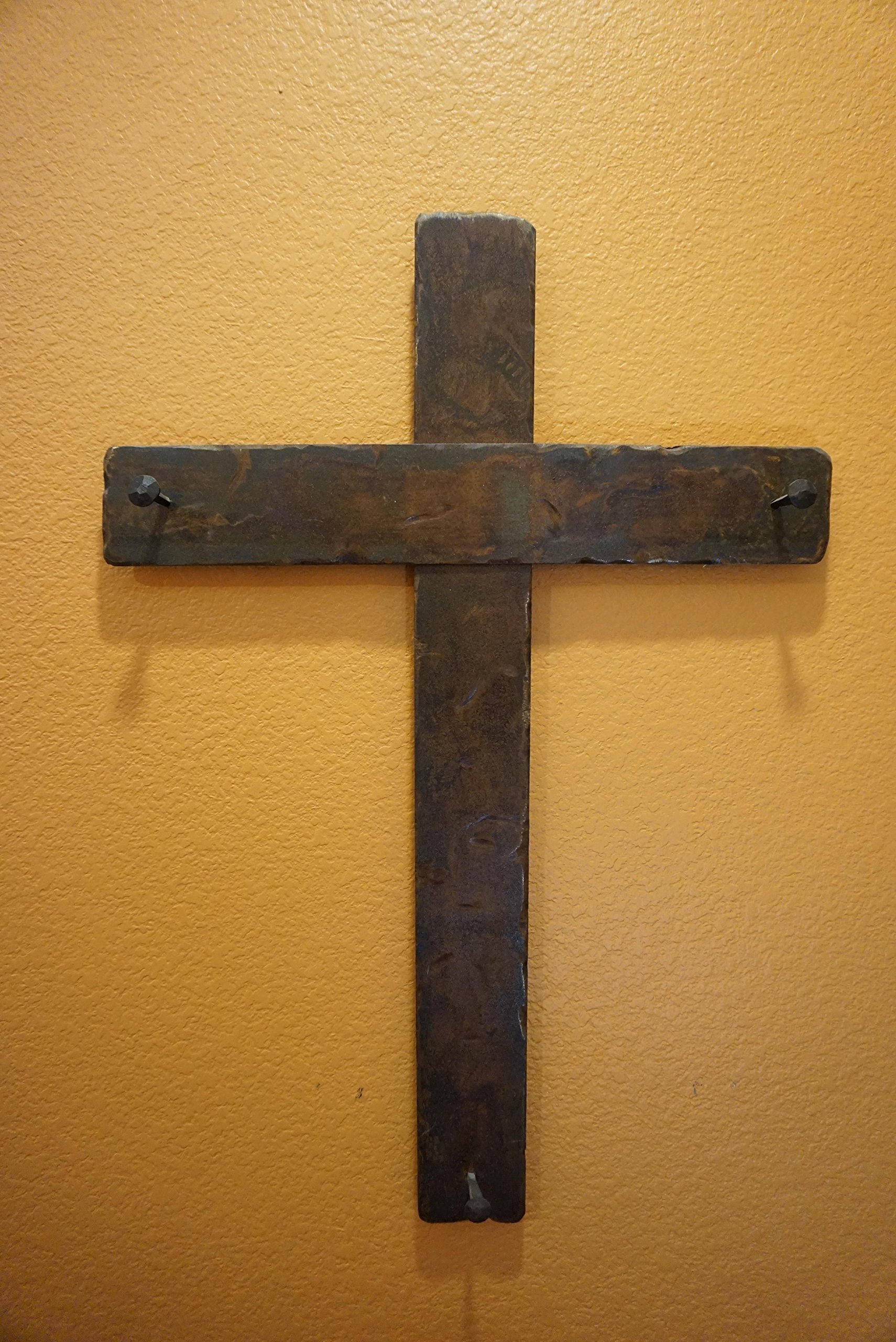Wall Decor - Hand made one of a kind kind abstract metal cross with spikes. by Sacrifice Studios