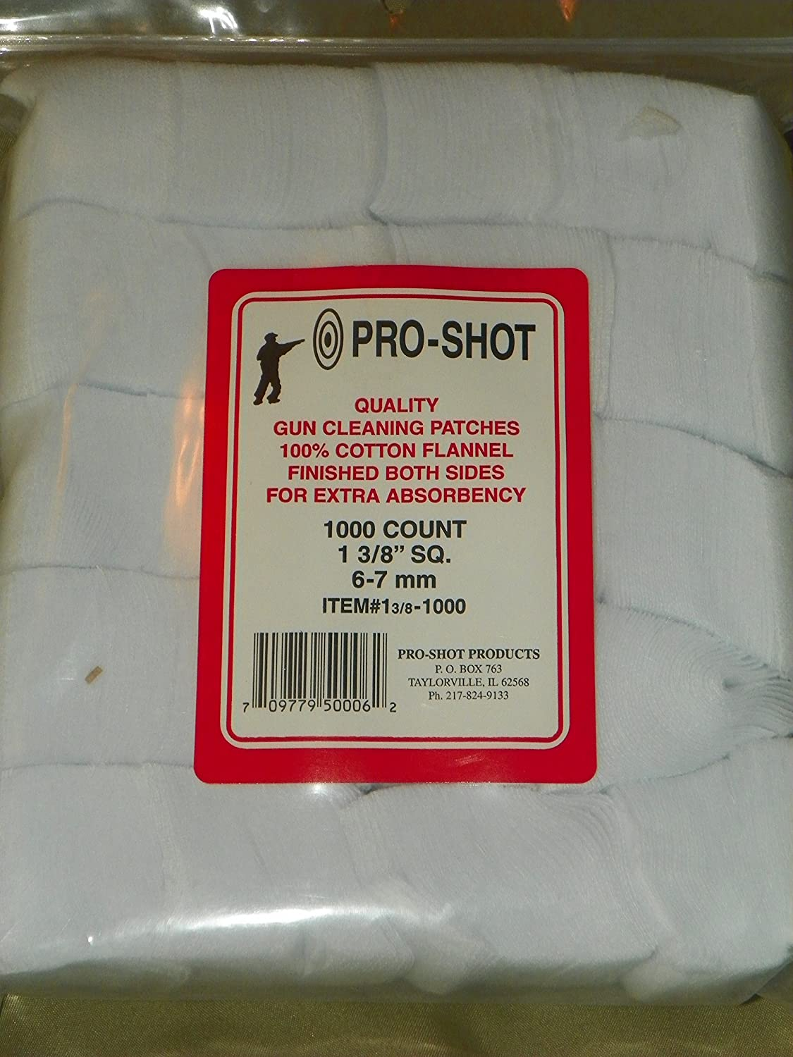 """Pro Shot Patches 1 3/8"""" sq Patch 1000 CT. 6-7mm"""