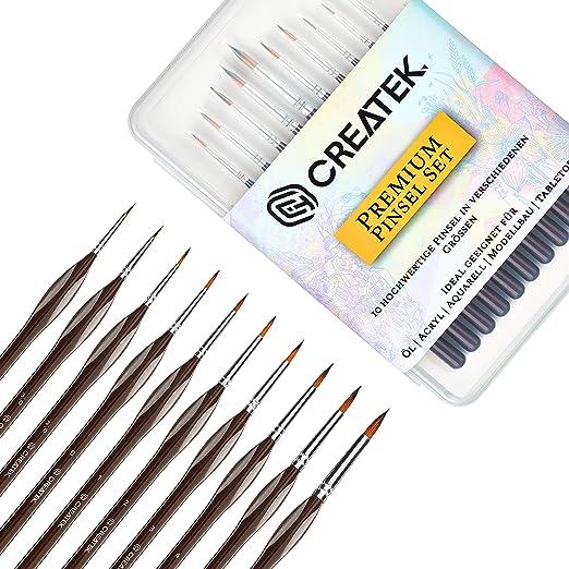 CreaTek® Innovatives Pinselset Malen - Set 10 Premium Malpinsel - Ideal für Öl, Acryl, Aquarell, Modellbau, Warhammer 40k I P