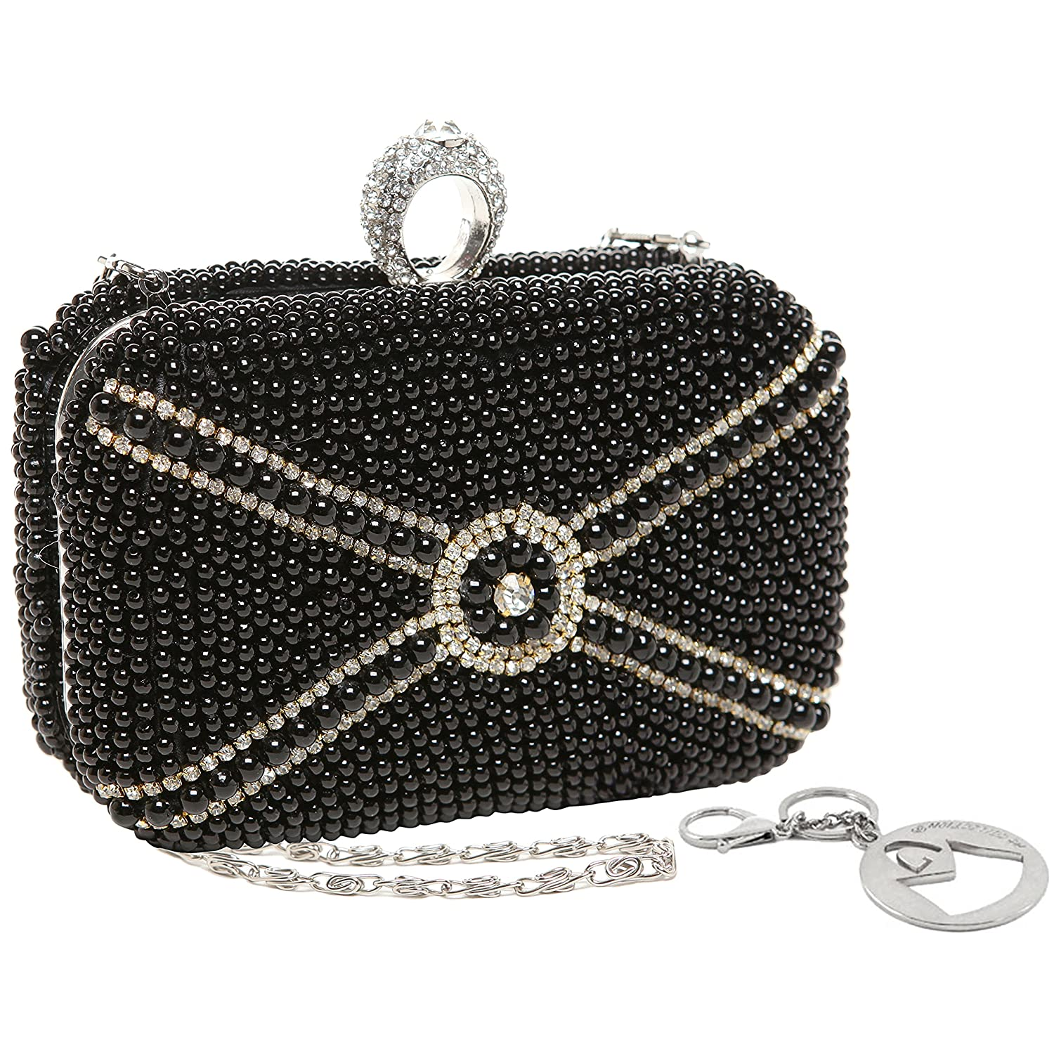 MG Collection Hand Beaded Pearls with Rhinestones Hard Case Box / Clutch Purse