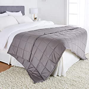 "AmazonBasics All-Season Cotton Weighted Blanket - 12-Pound, 60"" x 80"" (Full/Queen), Dark Grey"