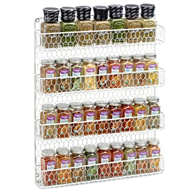 White 4 Tier Country Metal Chicken Wire Spice Rack from 1790, Cabinet, Pantry, or Wall Mount - This Rustic Hanging Organizer is Tiered for Maximum Storage - Up To 32 Herbs & Spices - Easily Mounted