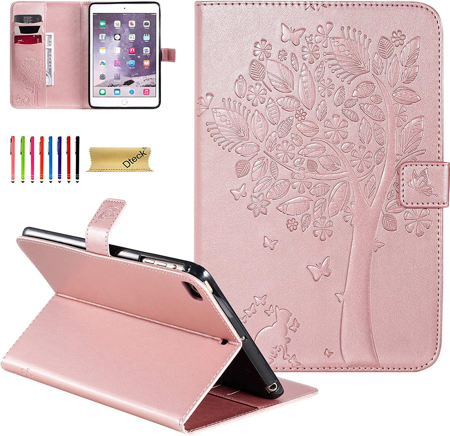 iPad Mini 5th Gen Case 2019, iPad Mini 4/3/2 Case, Dteck Embossed Cat Tree PU Leather Folio Stand Case with Auto Wake/Sleep Smart Magnetic Cover for Apple iPad Mini 5/Mini 4/Mini 3 /Mini2, Rosegold