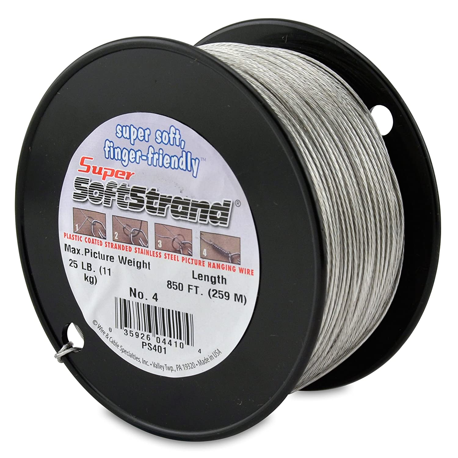 Supersoftstrand Size 4 850 Feet Picture Wire Vinyl Metal Jacket Wiring Coated Stranded Stainless Steel Arts Crafts Sewing