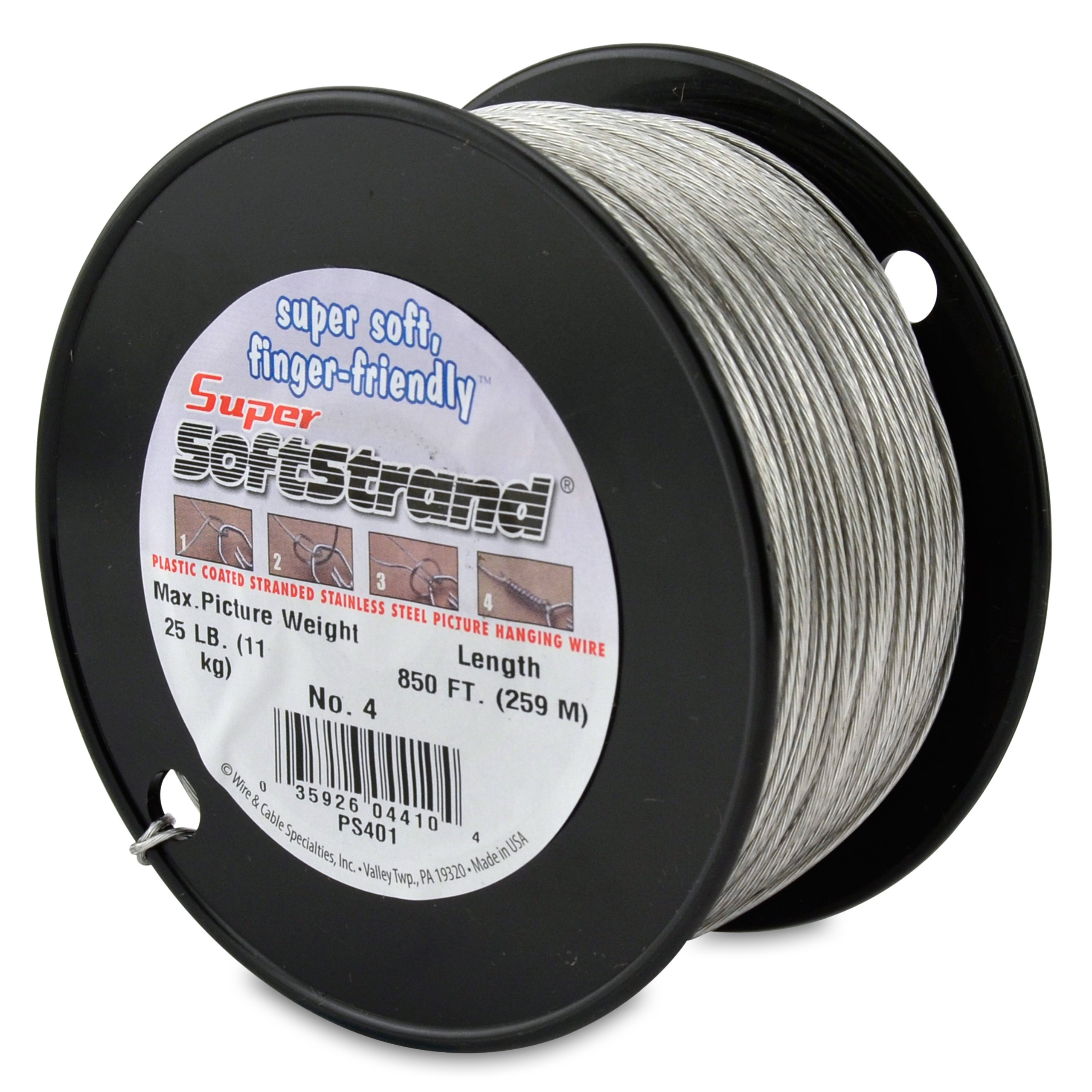 SuperSoftstrand Size 4-850-Feet Picture Wire Vinyl Coated Stranded Stainless Steel by Wire & Cable Specialties