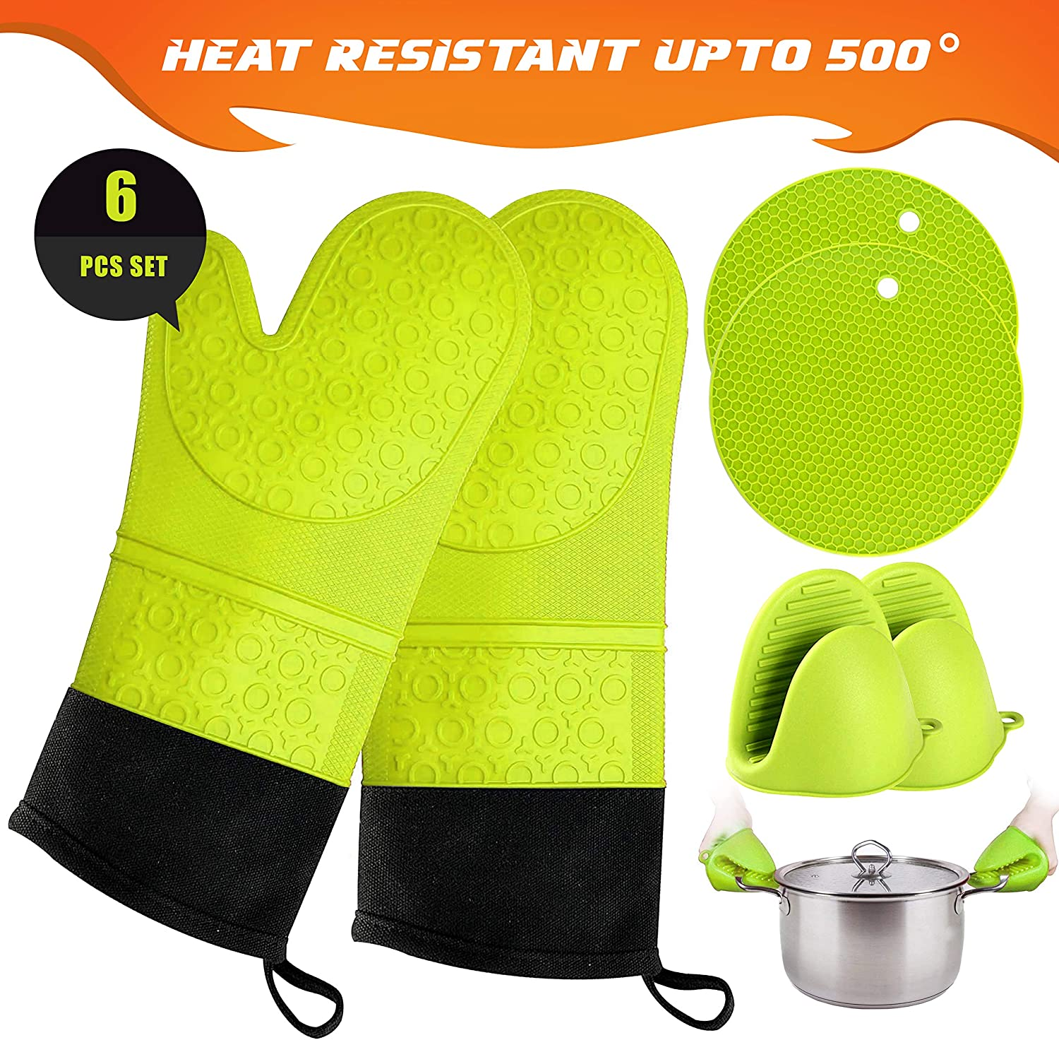 Extra Long Silicone Oven Mitt Heat Resistant 500 Degrees with bonus 2 trivets /& Mini Pinch Oven Mitts-Food Safe Baking Gloves for Cooking in Kitchen with Soft Inner Lining Oven Mitts and Pot Holder