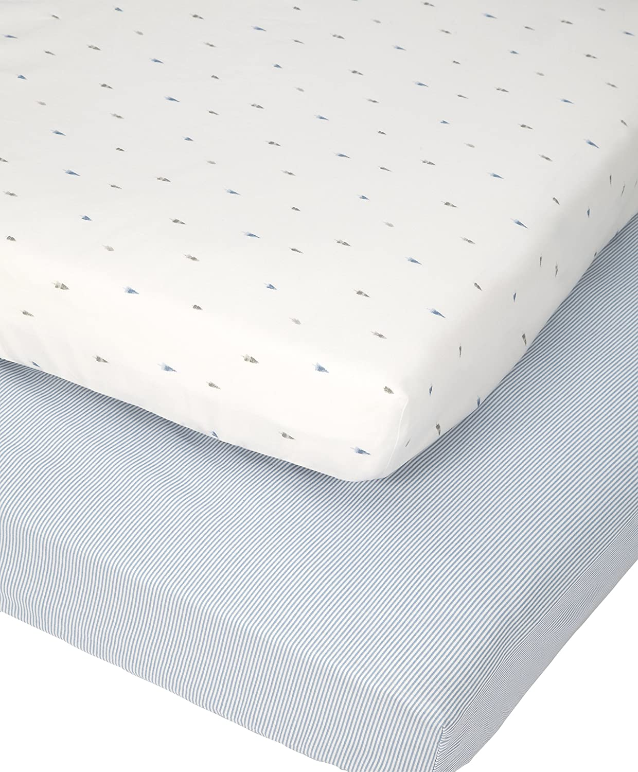 Mamas & Papas Cot Bed Fitted Sheets, Little Forest Blue, Pack of 2, Nursery Bedding 779767200