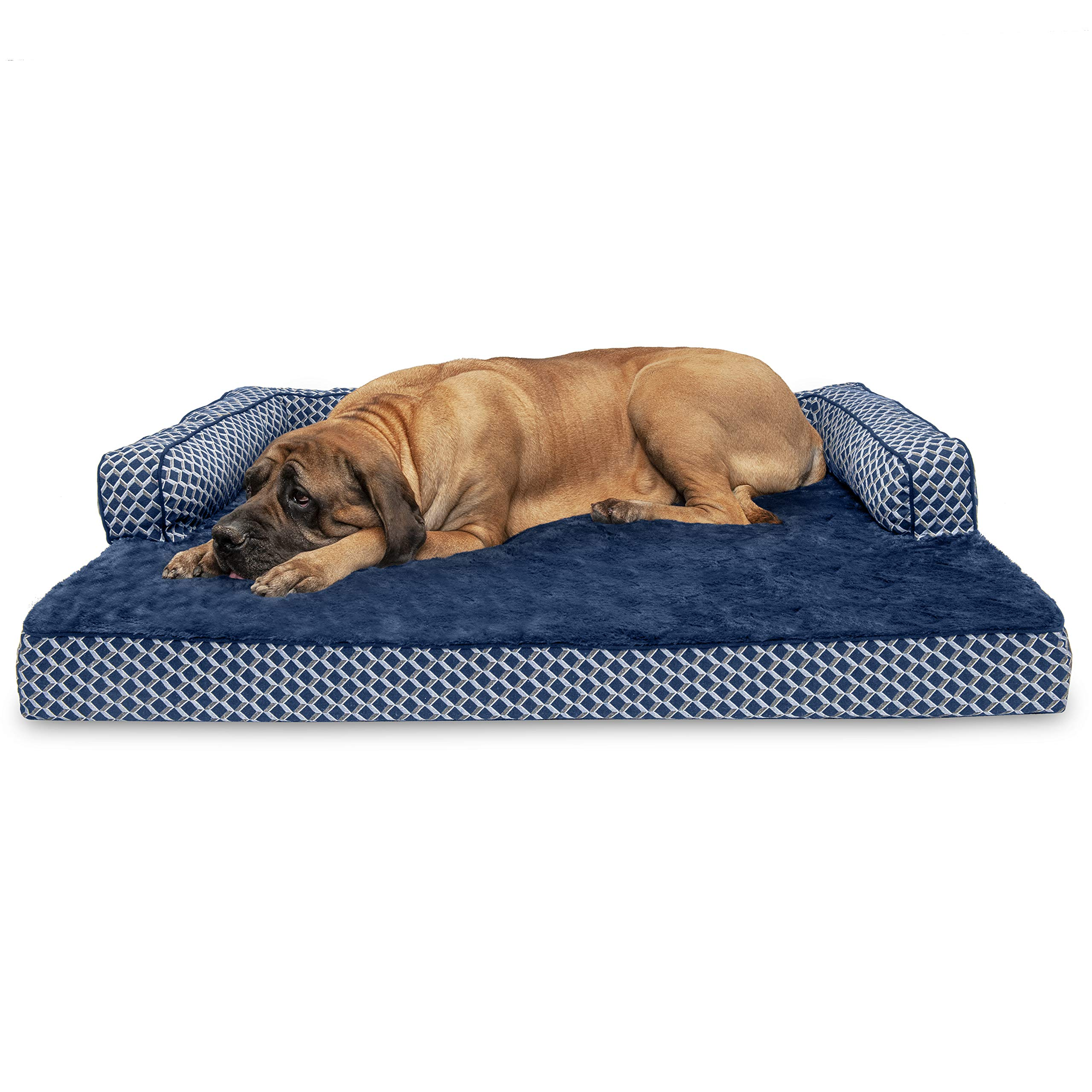 Furhaven Pet Dog Bed | Orthopedic Plush Faux Fur & Décor Comfy Couch Sofa-Style Living Room Couch Pet Bed for Dogs & Cats, Diamond Blue, Jumbo Plus