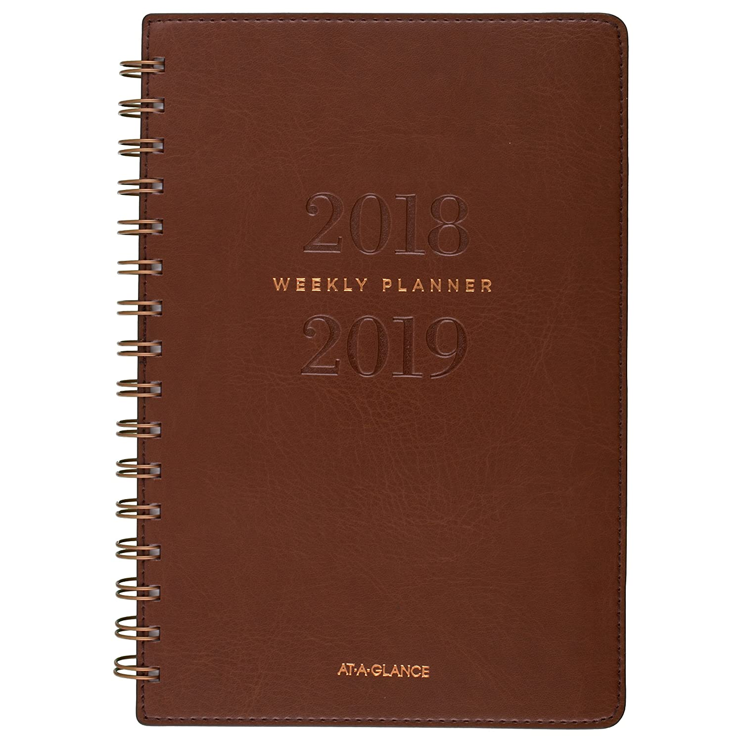 AT-A-GLANCE 2018/19 Signature Weekly and Monthly Academic Planner, July - June, 9-1/4 x 11-1/4 Inches, English, Brown Faux Leather Cover (YP900A-0919) Hilroy CA