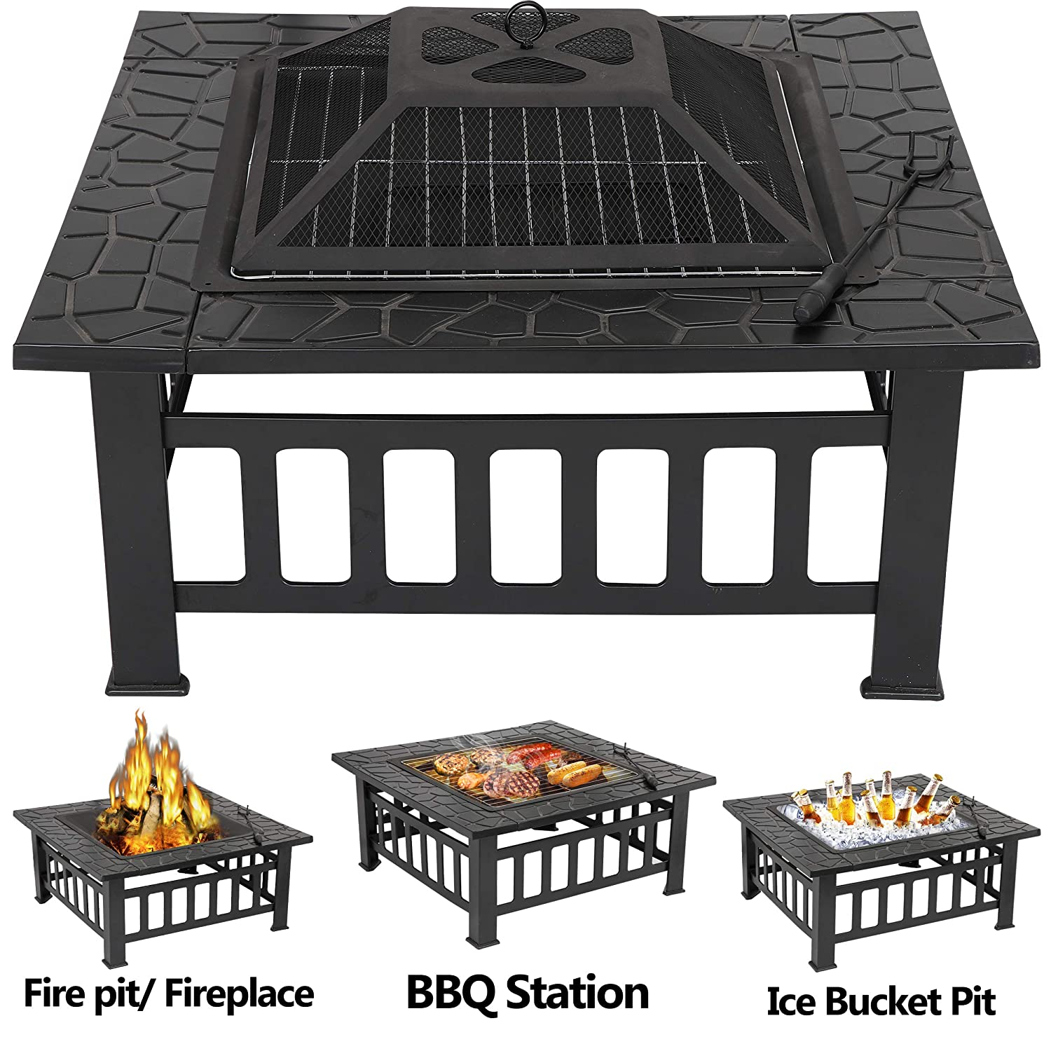 B079JSBX7P LEMY 32 inch Outdoor Square Metal Firepit Backyard Patio Garden Stove Wood Burning BBQ Fire Pit with Rain Cover, Faux-Stone Finish 91ICdq2BJPcL._SL1500_