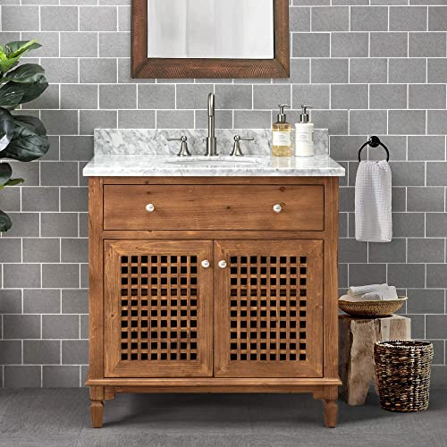 SJ Collection Elmira 36 in. Modern Coastal Style Single Sink Bathroom Vanity, Natural Wood Color