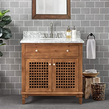 Amazon Com Sj Collection Elmira 36 In Modern Coastal Style Single Sink Bathroom Vanity Natural Wood Color Home Kitchen