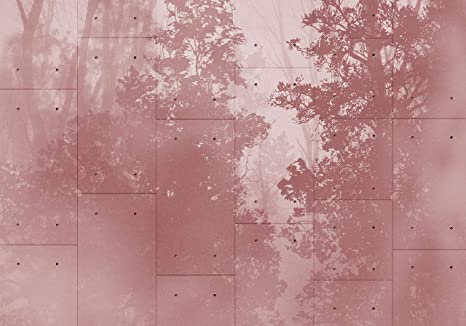VLIES FOTOTAPETE Rot Wald Betonplatte Tapete XXL Vliestapete