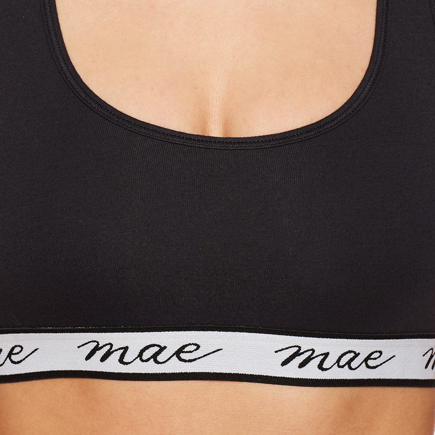 53d286605e Amazon.com  Mae Women s Cotton with Mesh Racerback and Logo Elastic  Bralette (for A-C cups)  Clothing