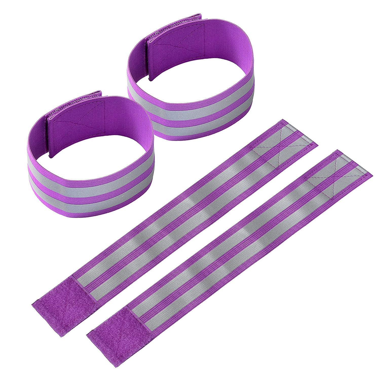 Techion Reflective Fabric Armband//Ankle Bands with Two Reflective Strips for Cycling//Biking Walking//Jogging Running Gear and Outdoor Sports