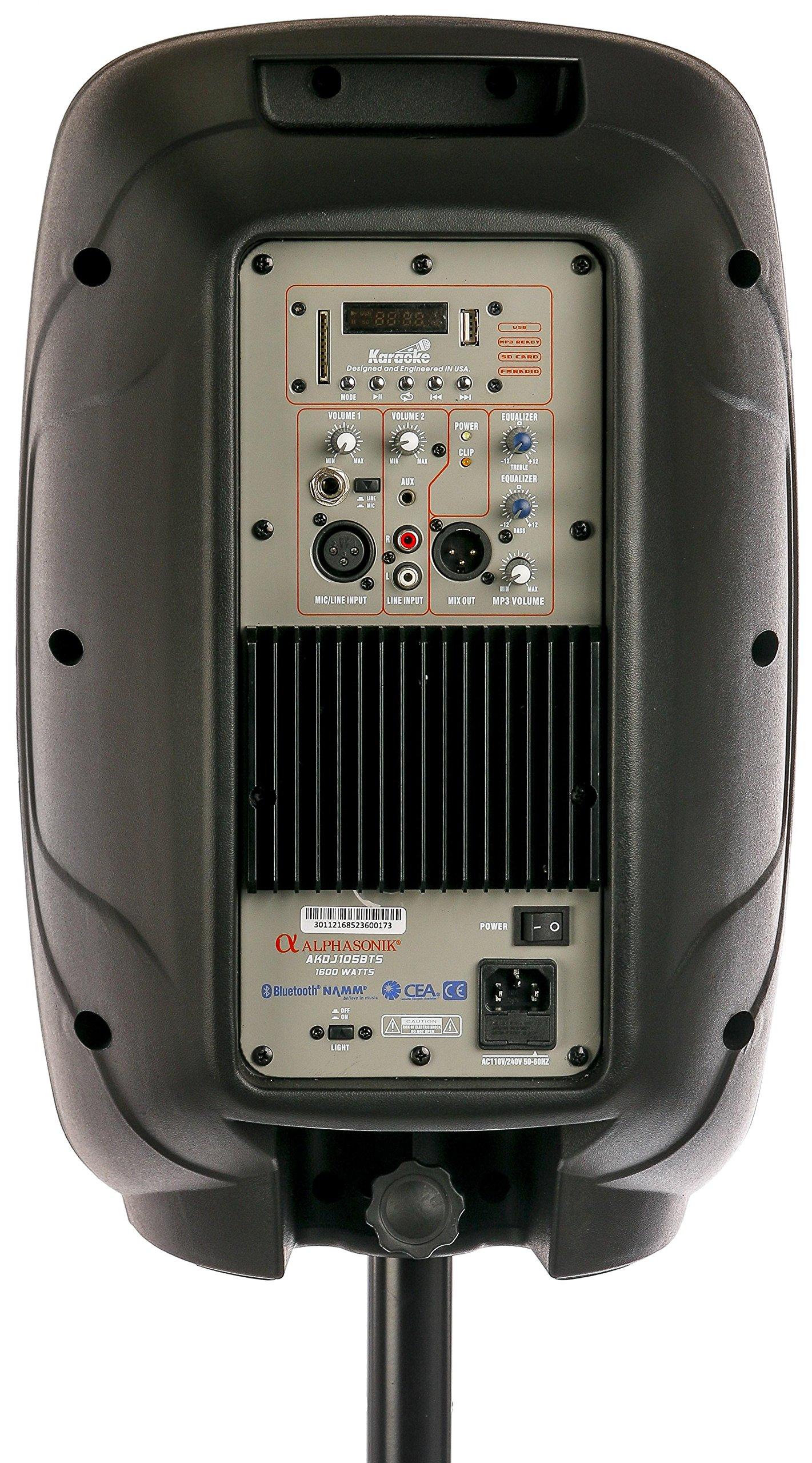 """ALPHASONIK 10/"""" POWERED 1600W PRO SPEAKER DJ BLUETOOTH USB PA LED MIC USB"""