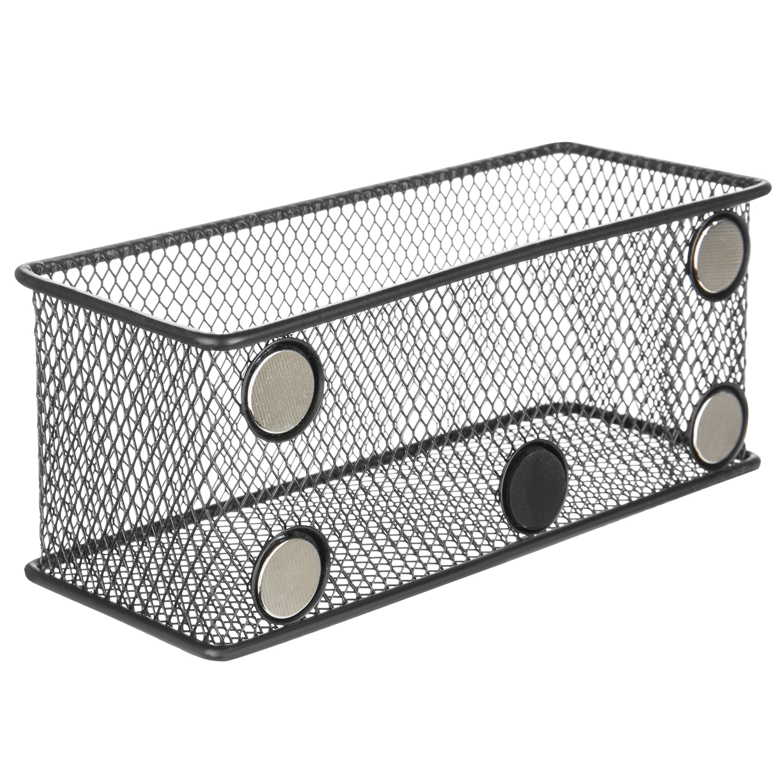 MyGift Wire Mesh Magnetic Storage Baskets, Office Supply Organizer, Set of 6, Black by MyGift (Image #6)