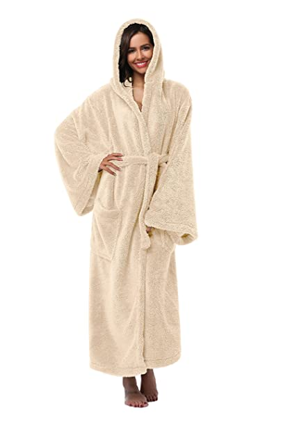 dffbfcb96c Vogue Bridal Unisex Soft Plush Coral Fleece Robe Plus Long Hooded Spa  Bathrobe