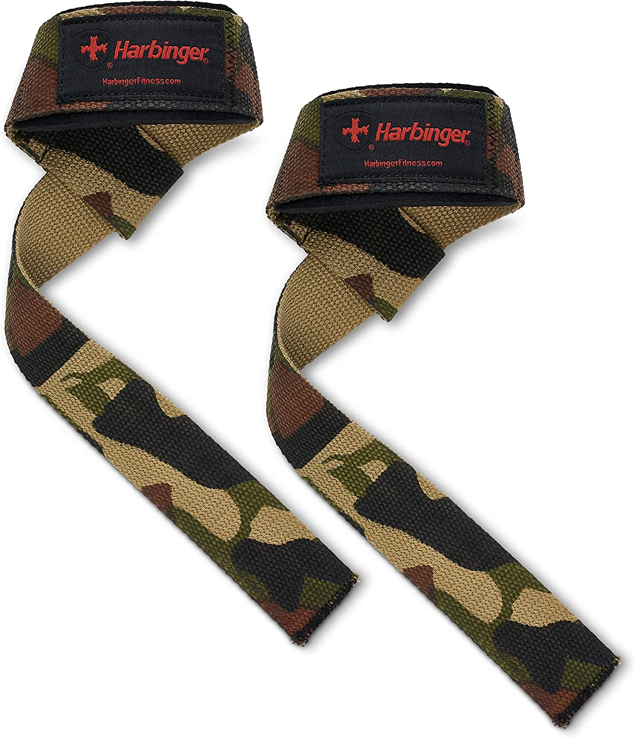Harbinger Padded Cotton Lifting Straps with NeoTek Cushioned Wrist Pair