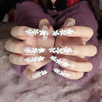 Amazon Super Long Fake Nails Small White Flowers Design Nail