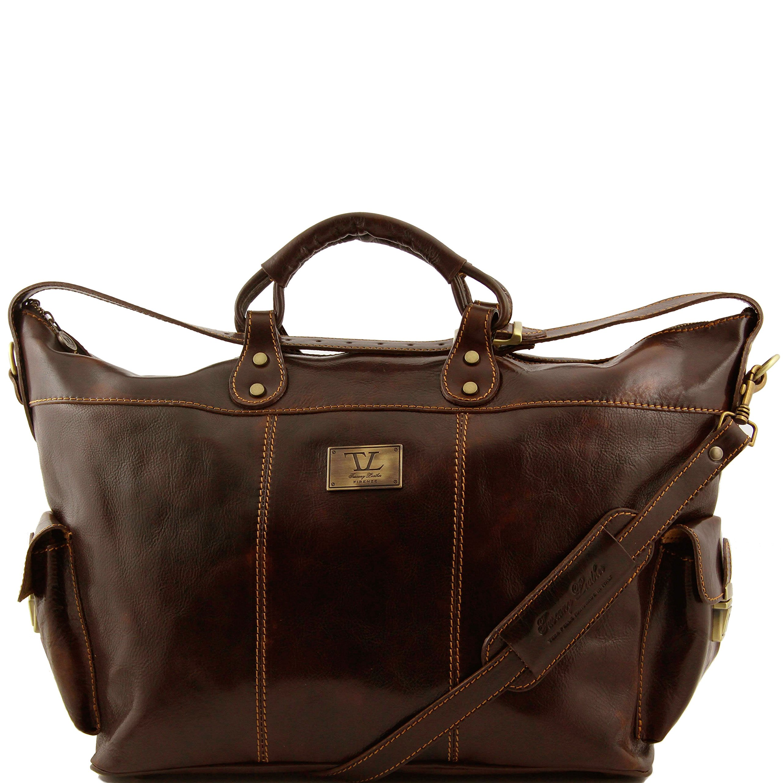 Tuscany Leather Porto Travel leather weekender bag Dark Brown