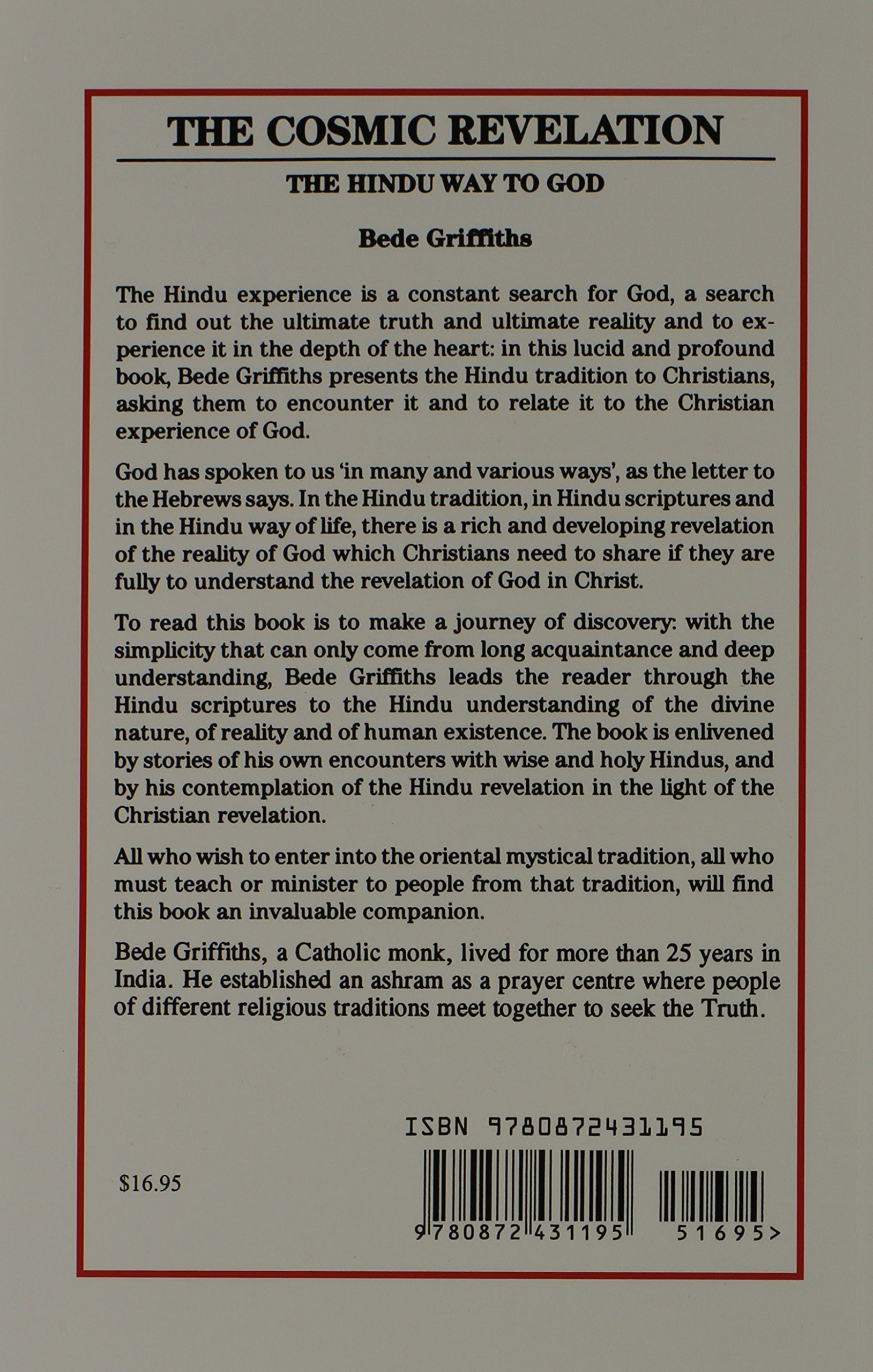 The cosmic revelation the hindu way to god bede griffiths the cosmic revelation the hindu way to god bede griffiths 9780872431195 amazon books fandeluxe Gallery