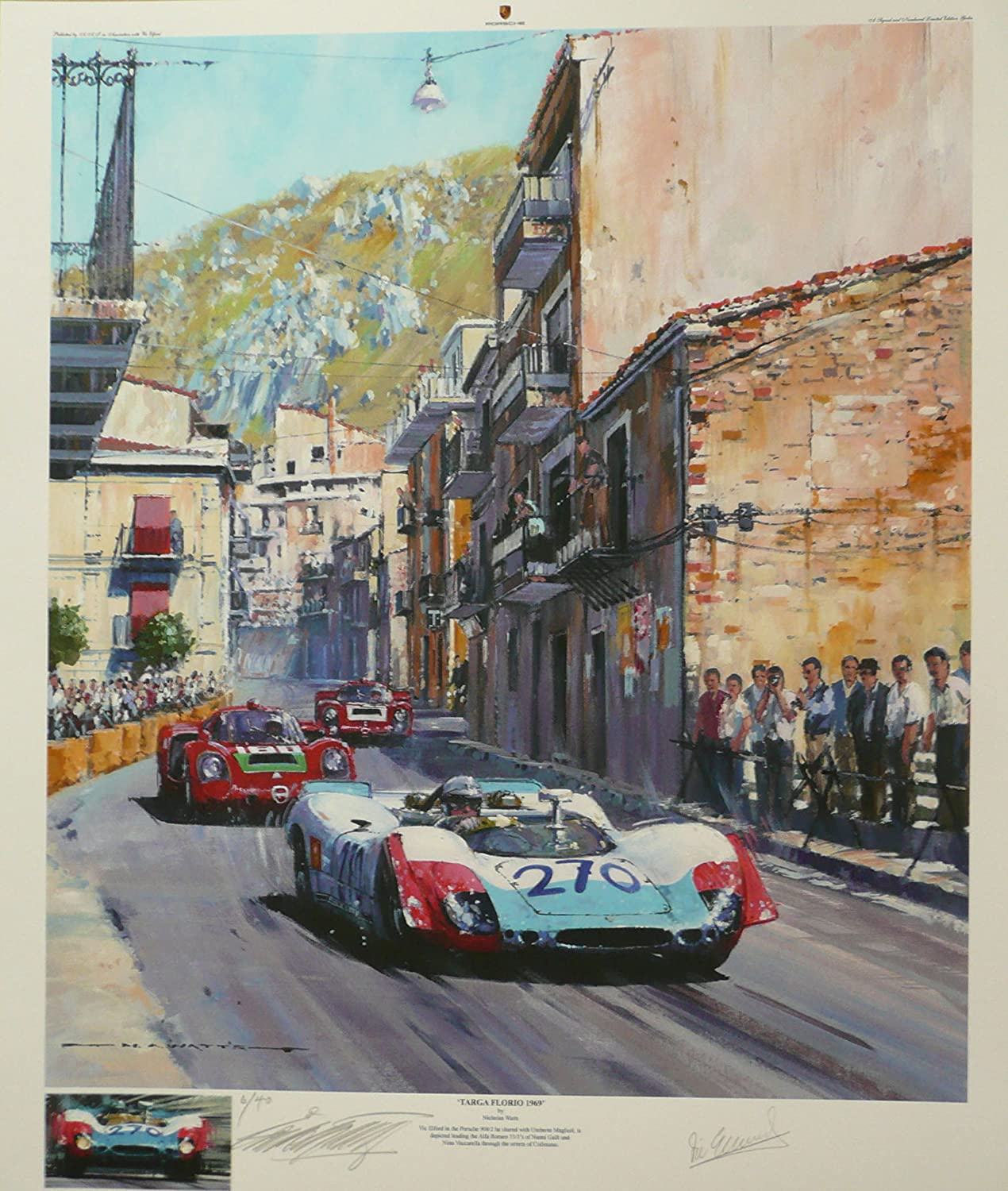 "Porsche 908/2 leads Alfa Romeo 33/3 Vic Elford ""Targa Florio 1969"" Art Giclee Print By Nicholas Watts Giclee - Autographed By Vic Elford & the Artist. Limited Edition of 40"