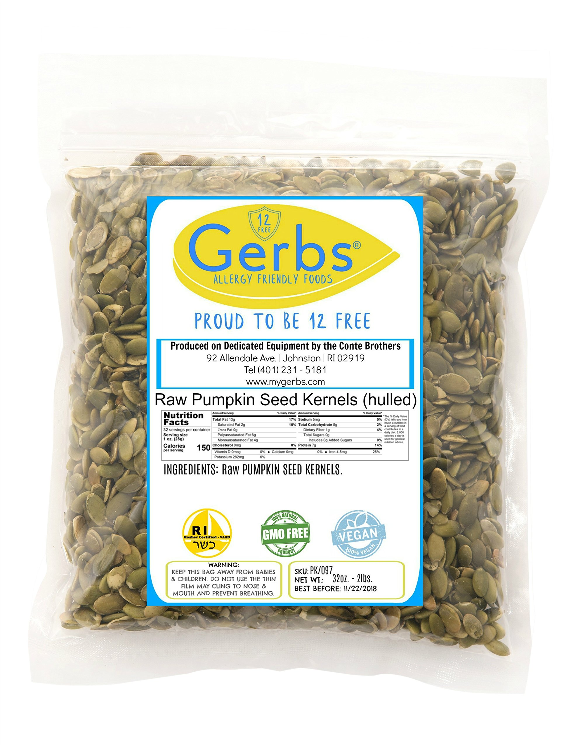 Raw Pumpkin Seed Kernels, 2 LBS by Gerbs – Top 12 Food Allergy Free & NON GMO - Vegan & Kosher - Premium Quality Grown in Mexico
