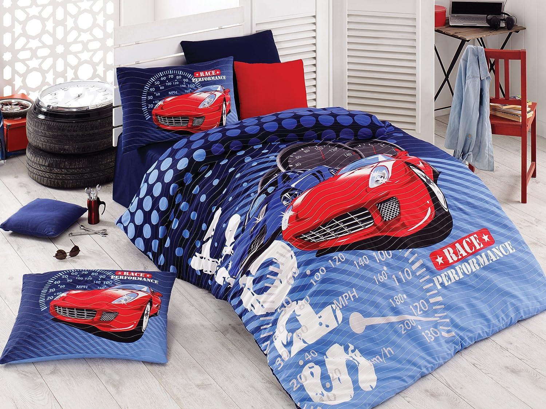 Bekata Sport Race Quilt Set, Kids Cars Bedding Quilted Bedspread,100% Cotton Blue Boys Bedding Set, 3 Pcs - Twin Size
