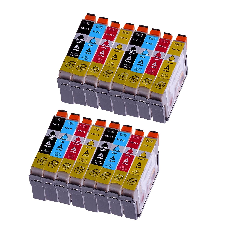 Premium 16er Pack cartucho de tinta para Epson (T0715) T0711 T0712 ...