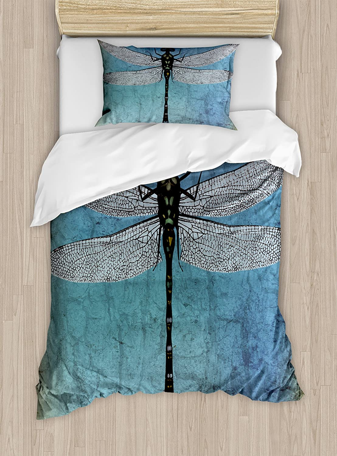 Duvet Covers Decorative 3 Piece Bedding Set With 2 Pillow Shams Ambesonne Dragonfly Duvet Cover Set King Size Grunge Vintage Old Backdrop And Dragonfly Bug Ombre Image Dark Blue Turquoise And Black