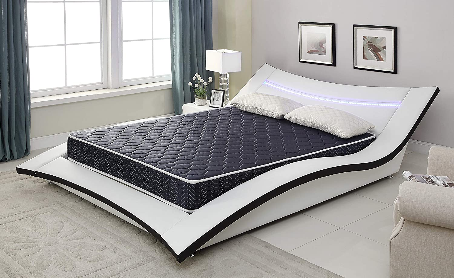 "AC Pacific 6"" Foam Mattress Covered in a Stylish Navy Blue Waterproof Fabric, Twin, Navy Blue"