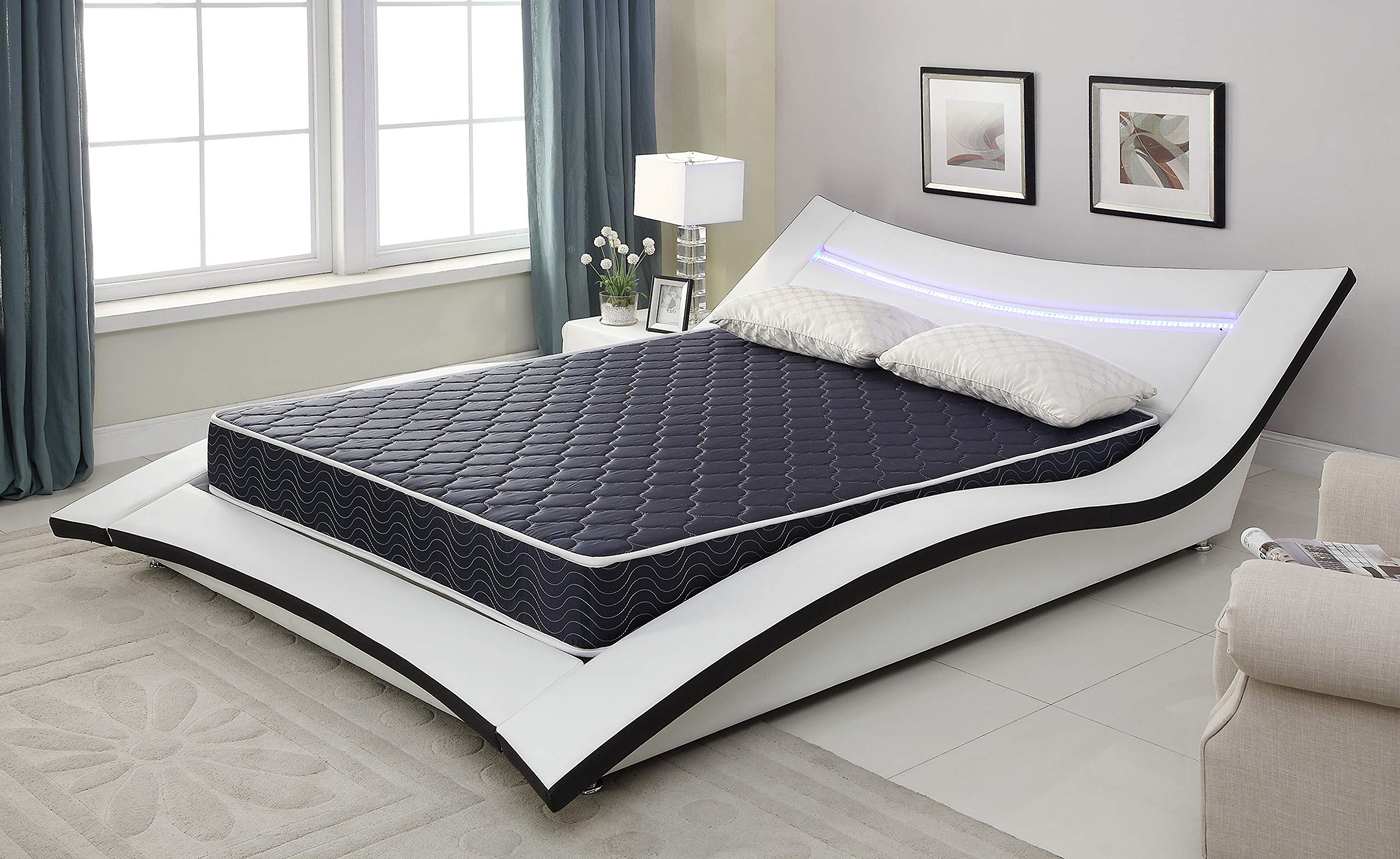 AC Pacific 6'' Foam Mattress Covered in a Stylish Navy Blue Waterproof Fabric, Twin, Navy Blue by AC Pacific