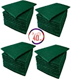(Set of 40) All Surface Scouring pad, Non-Scratch Heavy Duty Pot Scrubber Pads, Cleaning Sponge, Green, 5 3/4'' x 3 3/4''
