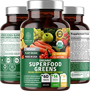 N1N Premium Organic Super Green, Fruits & Veggies [28 Powerful Ingredients] All Natural Superfood Supplement with Alfalfa, Beet Root & Tart Cherry to Boost Energy, Immunity & Gut Health, 60 Tablets