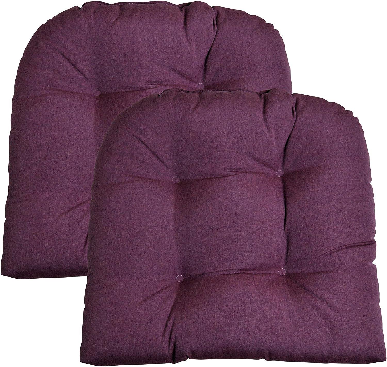 RSH Décor Indoor Outdoor Sunbrella 2 pk Wicker Patio Chair Seat Cushion Pillow Water Resistant Pad - Choose Color (Canvas Iris Purple)