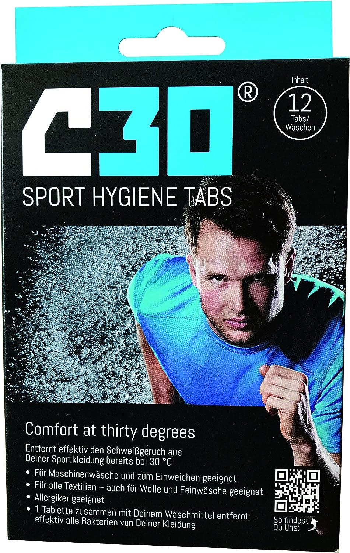 C30Sport Tabs Desi nfizierendes Elimina el Sudor olores, bacterias, los gérmenes olores Higiene Detergente antibacterias, Black/Blue, 12