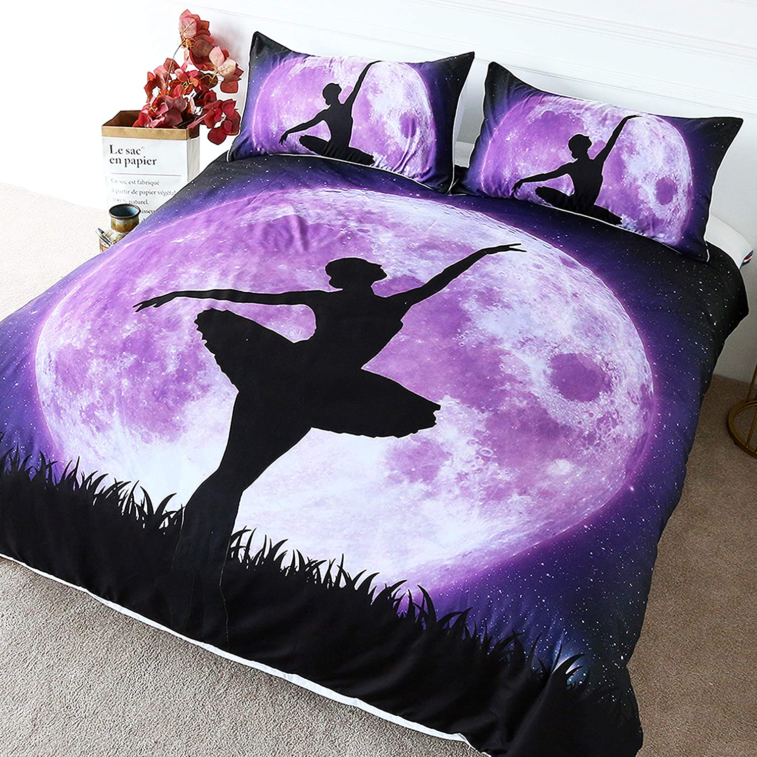 BlessLiving Home Fashion Ballerina Dance Bedding Nature Full Moon Duvet Cover Purple Galaxy Bedspread for Kids Girls (Twin)