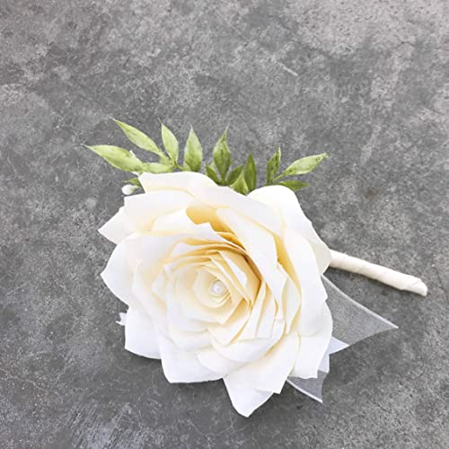 Ivory Coffee Filter Paper Flower Boutonniere For Wedding Or Events In Many Color Choices
