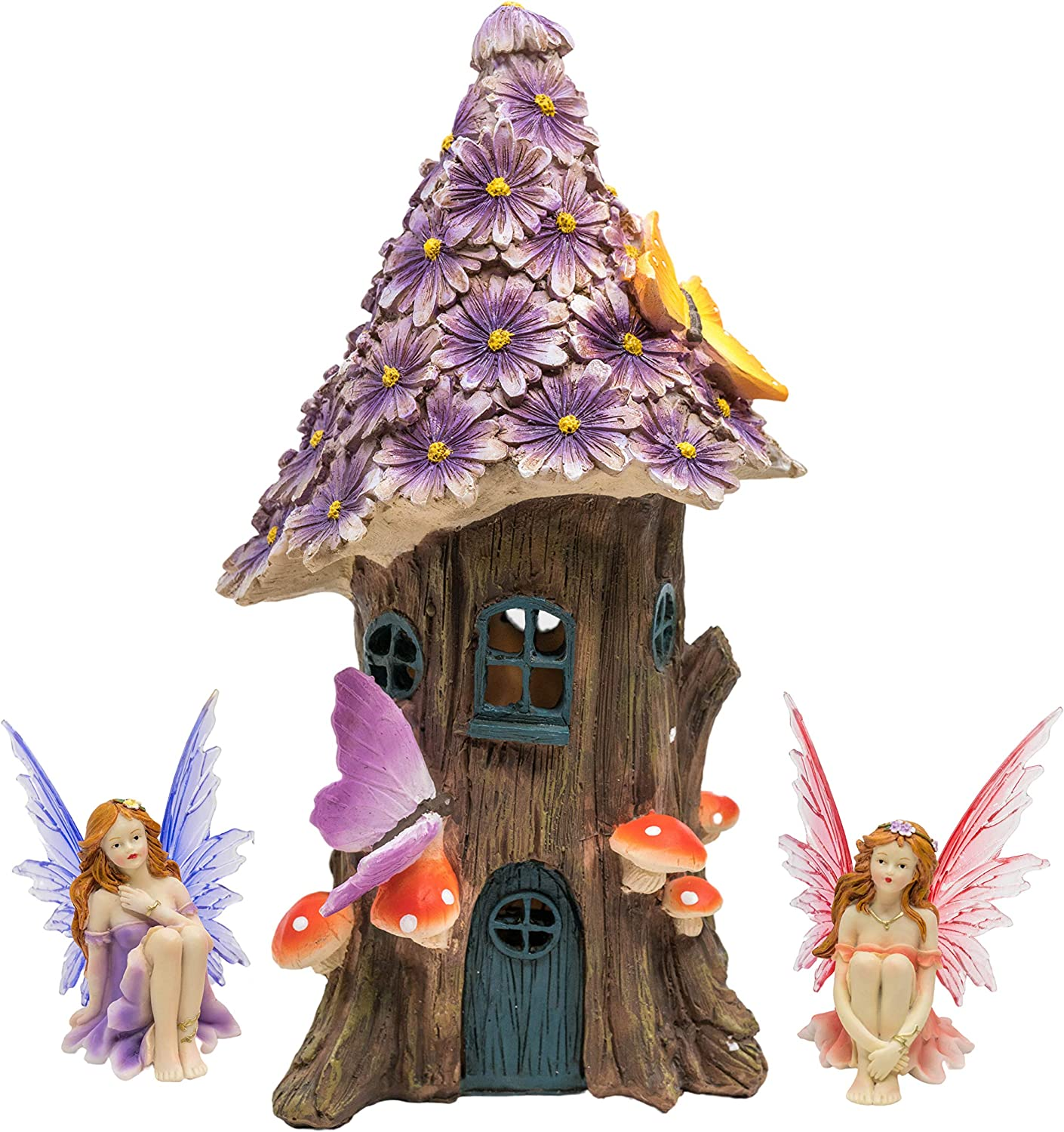 Solar Fairy House Gift Set with Figurines - Flowers, Mushrooms, Butterflies & Magical Fairies - Outdoor Garden, Lawn & Patio Décor with Glow in The Dark LED Lights – Mini Resin Statues and Sculptures