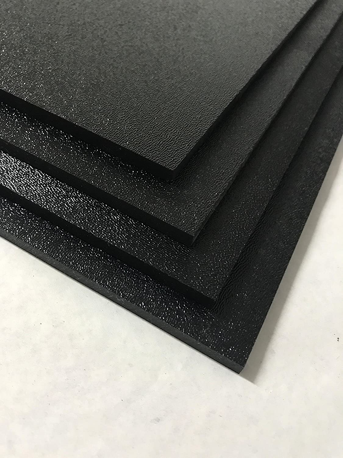 """ABS Black Plastic Sheet 1/8"""" x 24"""" x 48"""" Textured 1 Side Vacuum Forming (Pack of 4)"""
