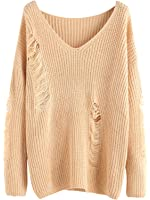 MakeMeChic Women's V-Neck Ripped Long Sleeve Knitted Loose Pullover Sweater