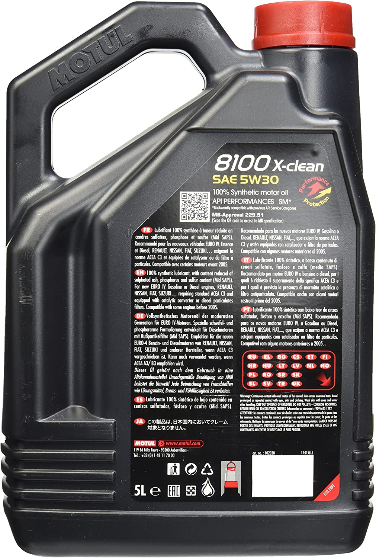 Motul 2020 8100 Clean 5 W 30 Synthetic Engine Oil 5 Litres By Motul Auto