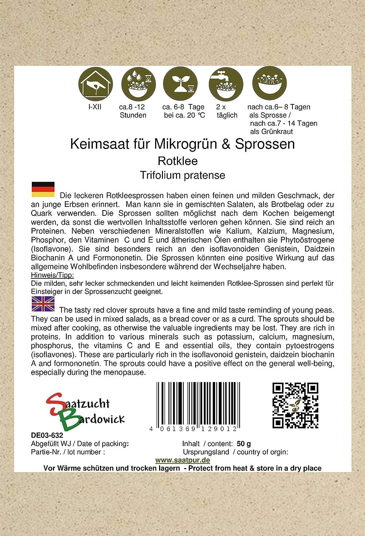 50g SaatPur Bio Keimsprossen Microgreens Keimsaat f/ür Rotklee Sprossen