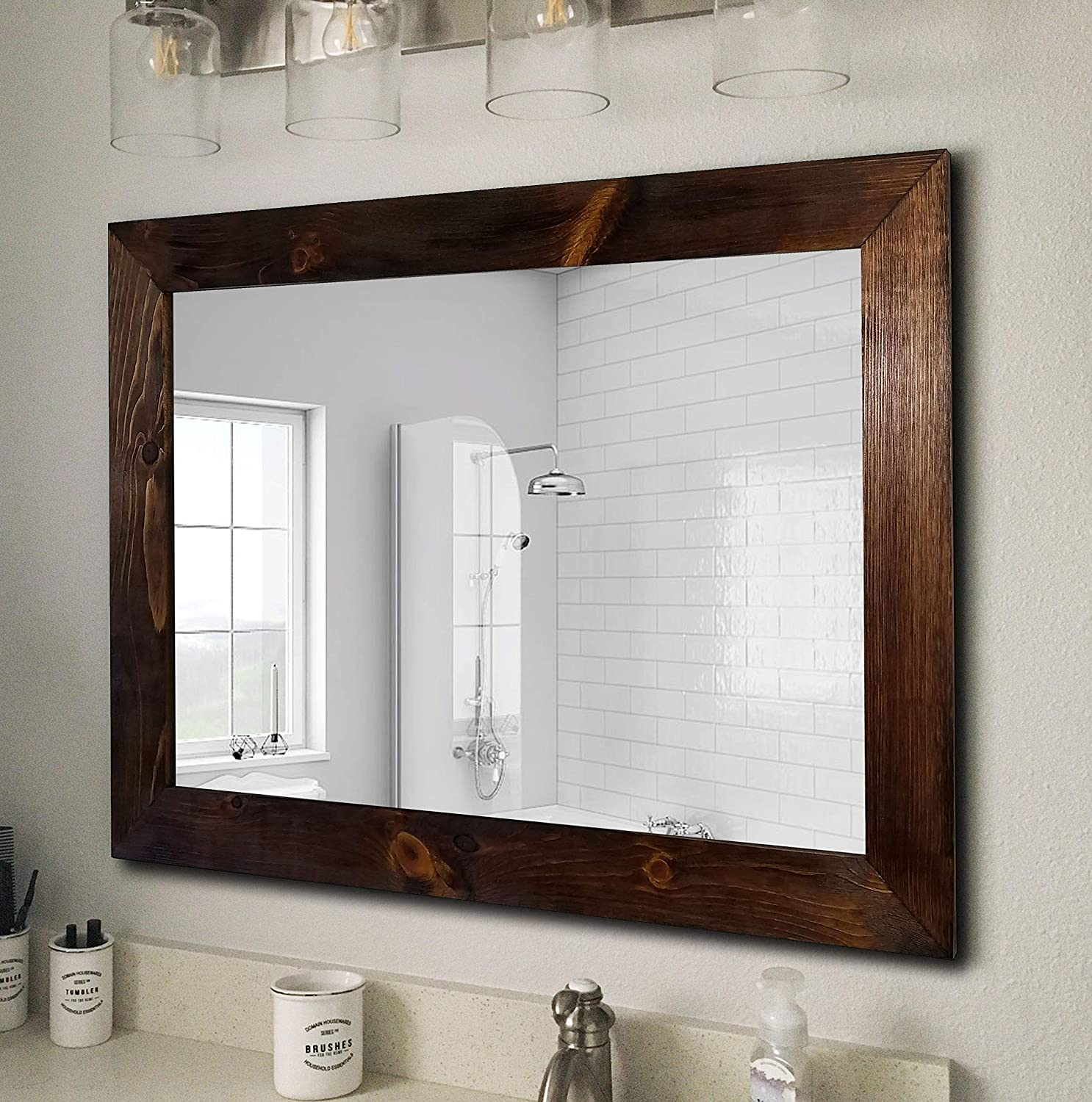 Shiplap Large Wooden Framed Mirror Available in 4 Sizes and 20 Colors: Shown in English Chestnut Large Wall Mirror Rustic Barnwood Style Home Decor Mirror Mirror Decor Large Frame Wall Mirror