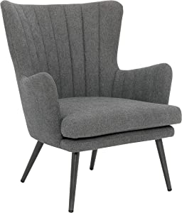 OSP Home Furnishings Jenson Mid-Century Modern Accent Arm Chair, Charcoal Grey Fabric