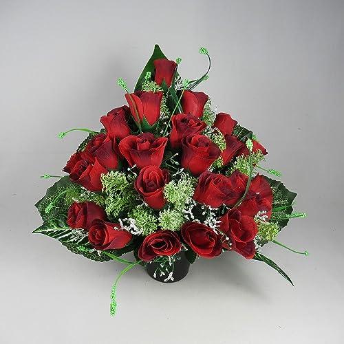 Flat Back Artificial Flower Grave Arrangement With Red Rosebuds Amazon Co Uk Handmade