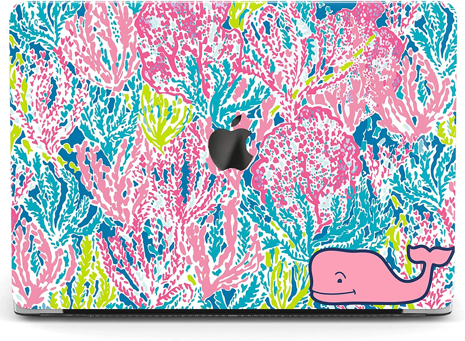 Wonder Wild Case for MacBook Air 13 inch Pro 15 2019 2018 Retina 12 11 Apple Hard Mac Protective Cover Touch Bar 2017 2016 2020 Plastic Laptop Print Colored Algae Coral Pink Whale Art