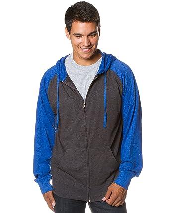 64131d9a581 Global Blank Mens Lightweight Long Sleeve Gray Blue T-Shirt Zippered Hoodie  Extra Small
