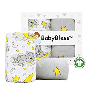 Organic Crib Sheets (2 Pack) - 100% Organic Jersey Cotton Fitted Crib Sheets for Standard Crib and Toddler Mattresses | Unisex Star and Bear Print | Nursery Bedding Sheets for Baby Boy or Girl
